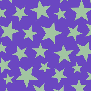 scattered stars - purple green