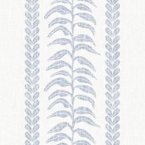 Palm Linen Stripe, Blue on White