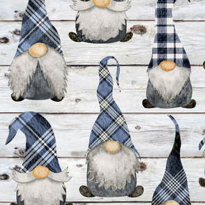 Blue Plaid Gnomes on Shiplap - large scale