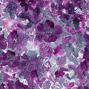 Watercolor mauve floral collage