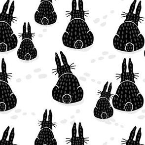 Black Bunny Rabbit Winter Day