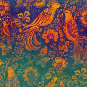 Love Birds in Russian Folk Style Rustic Orange on Blue and Green Stripes medium-scale