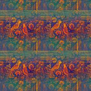 Love Birds in Russian Folk Style Rustic Orange on Blue and Green Stripes and Squares medium-scale