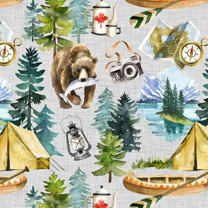 Camping in the Wilderness Lakes of Canada / Grey Linen Textured Background / Small Scale