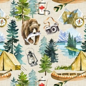 Camping in the Wilderness Lakes of Canada / Beige Linen Textured Background / Small Scale