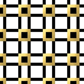 Square Art Deco Pattern in black, white and gold