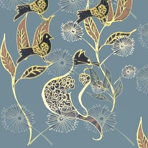 Toile Style Gold Cat & Birds Line Drawing On Denim Blue
