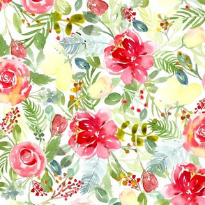 Watercolor peonies and rose florals