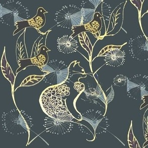 Toile_line_art_-gold_%26_blue_cat_%26_bird_garden_on_dark_blue