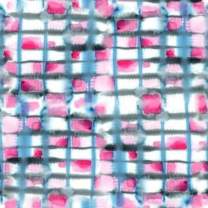 Small Watercolor Shibori, Blue & Hot Pink