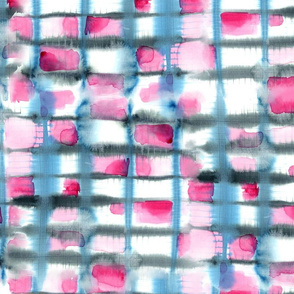 Large Watercolor Shibori, Blue & Hot Pink
