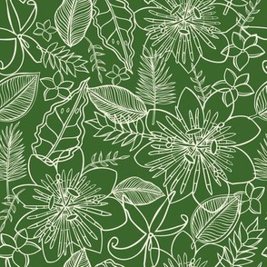 Tropical Vacation in jungle green and white