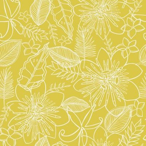 Tropical Vacation in yellow and creamy white