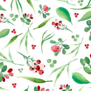 Watercolor bearberries on white