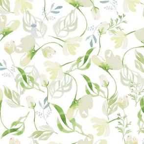 White florals on watercolor