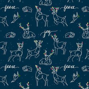 Navy Reindeer line art