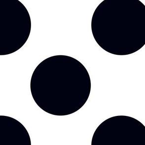 Large black polka dots on white