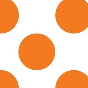 Large orange polka dots on white