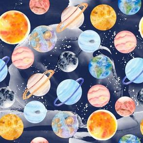Watercolors planets - galaxy