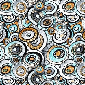 zencircles I - watercolor doodle - retro cyanide
