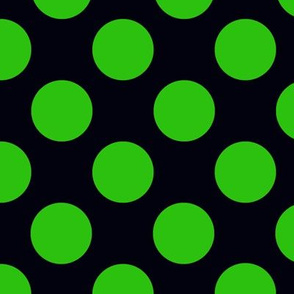 Small green polka dots on black