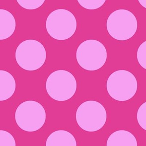 Large pink polka dots on fuchsia