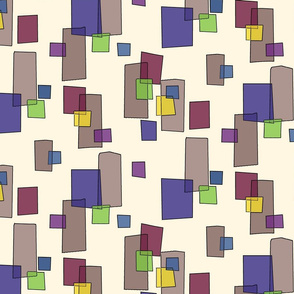 Watercolor Squares on Cream