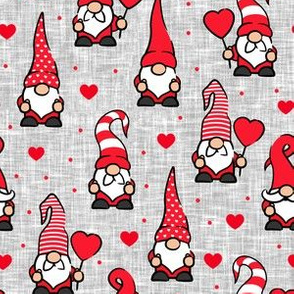 Valentine Gnomes - red on grey - cute gnomes - LAD20