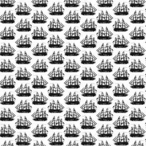 Classic Sailing Ships in Black & White (Mini Scale)
