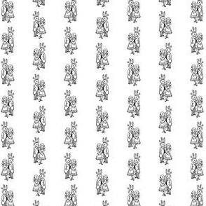 Cute Alice & White Rabbit in Black & White (Mini Scale)