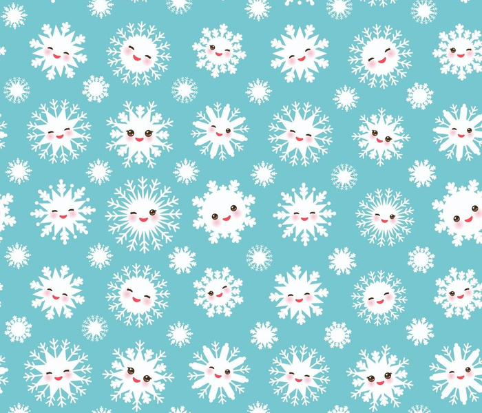 Kawaii snowflake white funny face with eyes and pink cheeks on sky light blue background