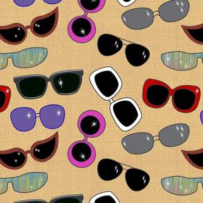 Jumbo retro sunglasses -  sand