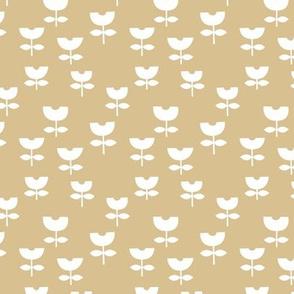 Little boho retro scandinavian style tulips minimalist flower design baby nursery soft honey yellow