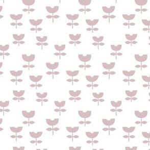 Little boho retro scandinavian style tulips minimalist flower design baby nursery neutral soft mauve old rose on white girls