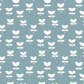 Little boho retro scandinavian style tulips minimalist flower design baby nursery neutral moody stone blue white boys