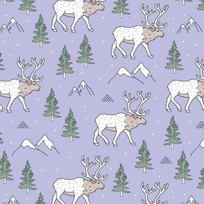 Sweet woodland moose mountains tops and forest pine trees neutral nursery wild animals green lilac beige girls