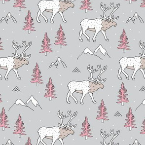 Sweet woodland moose mountains tops and forest pine trees neutral nursery wild animals gray pink beige girls