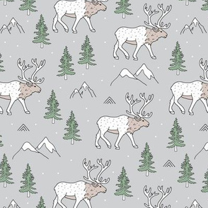 Sweet woodland moose mountains tops and forest pine trees neutral nursery wild animals gray green beige