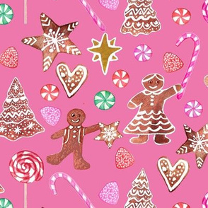 Holiday gingerbread people and Christmas candy canes, pink