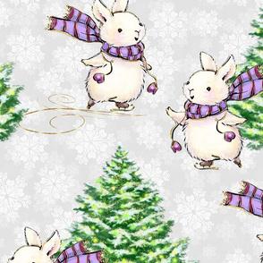 christmas tree, bunny pattern, kids, kids pattern, bunnies, christmas pattern, children, white bunny, christmas bunny, christmas, cute bunny, ice skating, winter, winter pattern, cute christmas animal