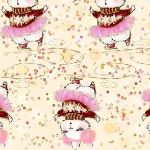 Vanilla Christmas. whimsical, girls things, cute baby, childly delight, bunny girl, cute, cute bunny, kids, kigs skating, girly, yellow, for girls, christmas fun, cheerful nursery