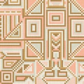 Pixel Geometry in Vintage Shades / Large