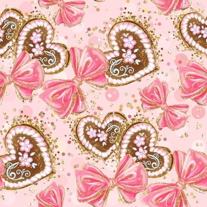 lovely kids pattern, gingerbread, happiness, christmas for girls, girls nursery, gold sequins, sweets, cute children room, pink bows, gingerbread hearts, girly pattern, pink, baby