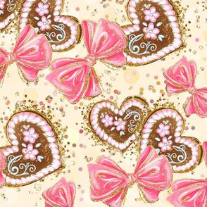 baby nursery, cute pattern, sweet nursery, baby pattern, cheerful, children, sweets, kids pattern, baby nursery, lebkuchen, yellow, gingerbread hearts, gingerbreads, kids, nursery