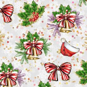 christmas decor, christmas, Jolly christmas, white, winter holidays, christmas pattern, glitter christmas, christmas stuff, christmas mush, santa hat, Holly jolly, large scale, merry christmas