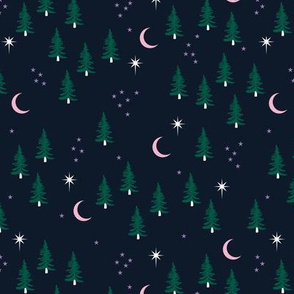 Pine tree winter forest moon and stars northern star seasonal design navy green pink