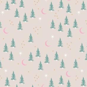 Pine tree winter forest moon and stars northern star seasonal design beige green ochre pink