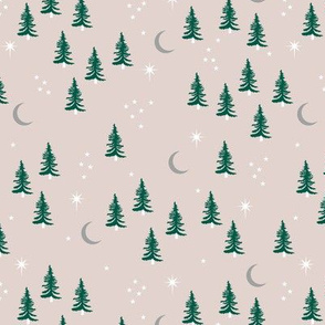Pine tree winter forest moon and stars northern star seasonal design beige green gray neutral