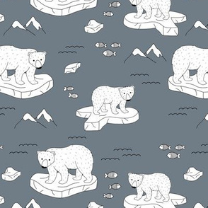 Little polar bears and snow mountains and glaciers winter ocean design cool stone blue gray
