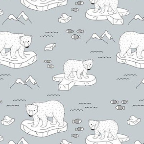 Little polar bears and snow mountains and glaciers winter ocean design soft blue gray